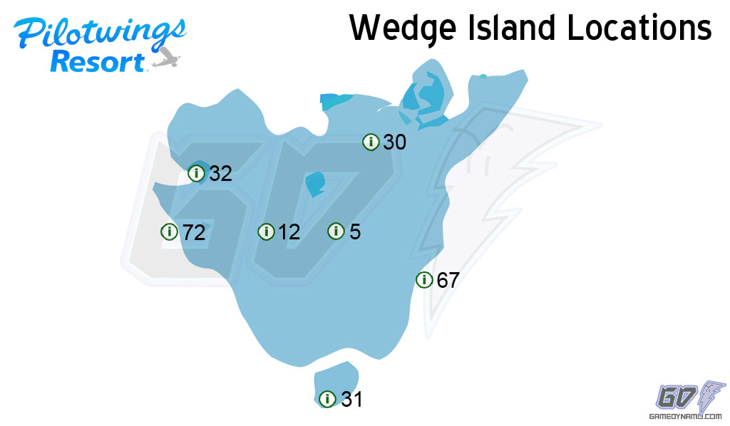 Pilotwings Resort Locations Map - Wedge Island