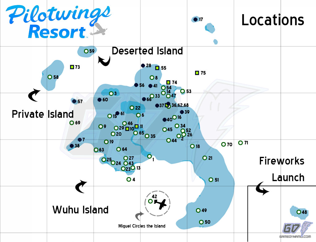 Pilotwings Resort Locations Map - Wuhu Island, Deserted Island, Private Island, Fireworks Launch