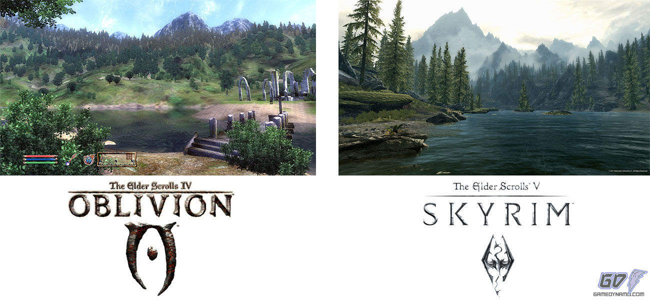 The Elder Scrolls IV Oblivion vs. The Elder Scrolls V: Skyrim Screen Comparison