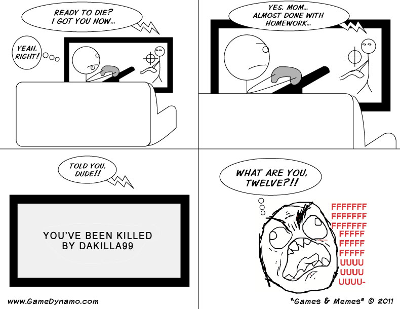 Games & Memes Comics: Kids Playing Online Shooters..