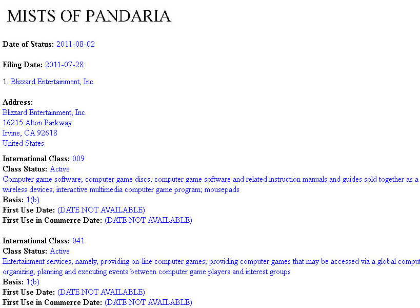 World of Warcraft: Mists of Pandaria expansion trademark application (WoW, PC)