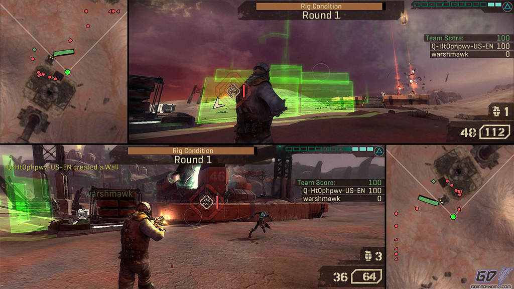 Starhawk split-screen multiplayer screenshots and dual-login to PlayStation Network (Sony, PSN, LightBox)