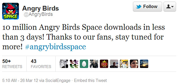 Angry Birds Space 3 million downloads (Rovio, Android, iOS, iPhone, iPad)