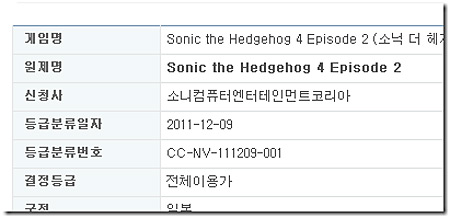 Sonic 4 Episode 2 rated by the Korean Game Ratings Board (Wii, PS3, Xbox 360, iOS, Android)