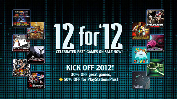 Sony announces its PS3 / PSN 12 for '12 sale on video games