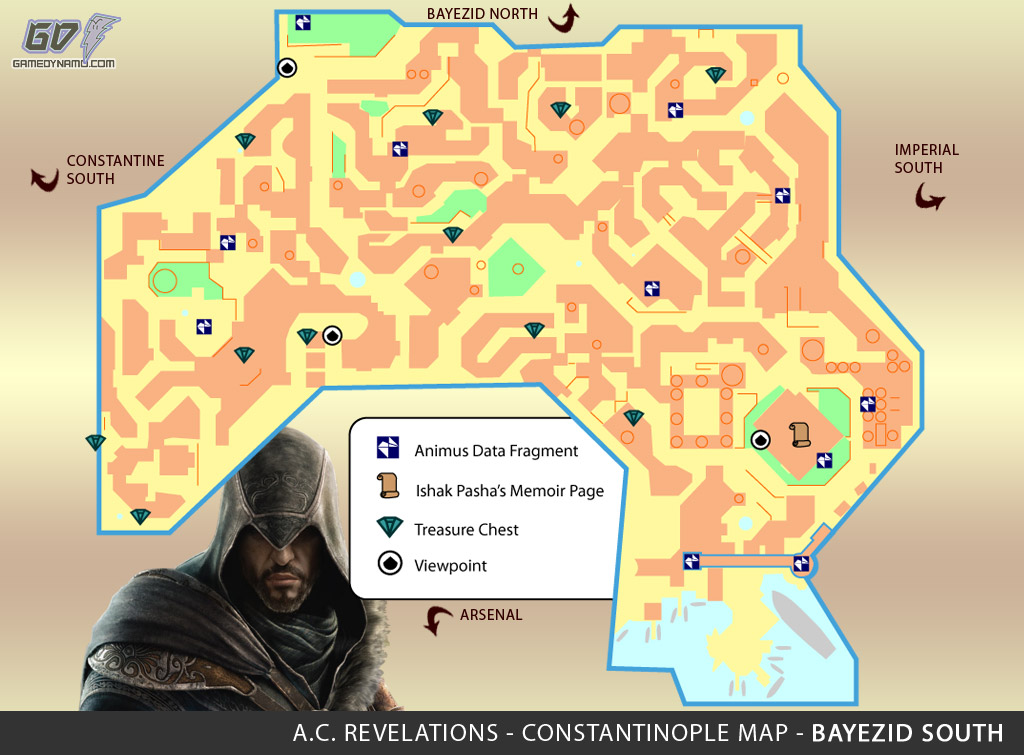 Assassin's Creed: Revelations Map (Bayezid South) - Animus Data Fragments, Memoir Pages, Treasure Chest Locations