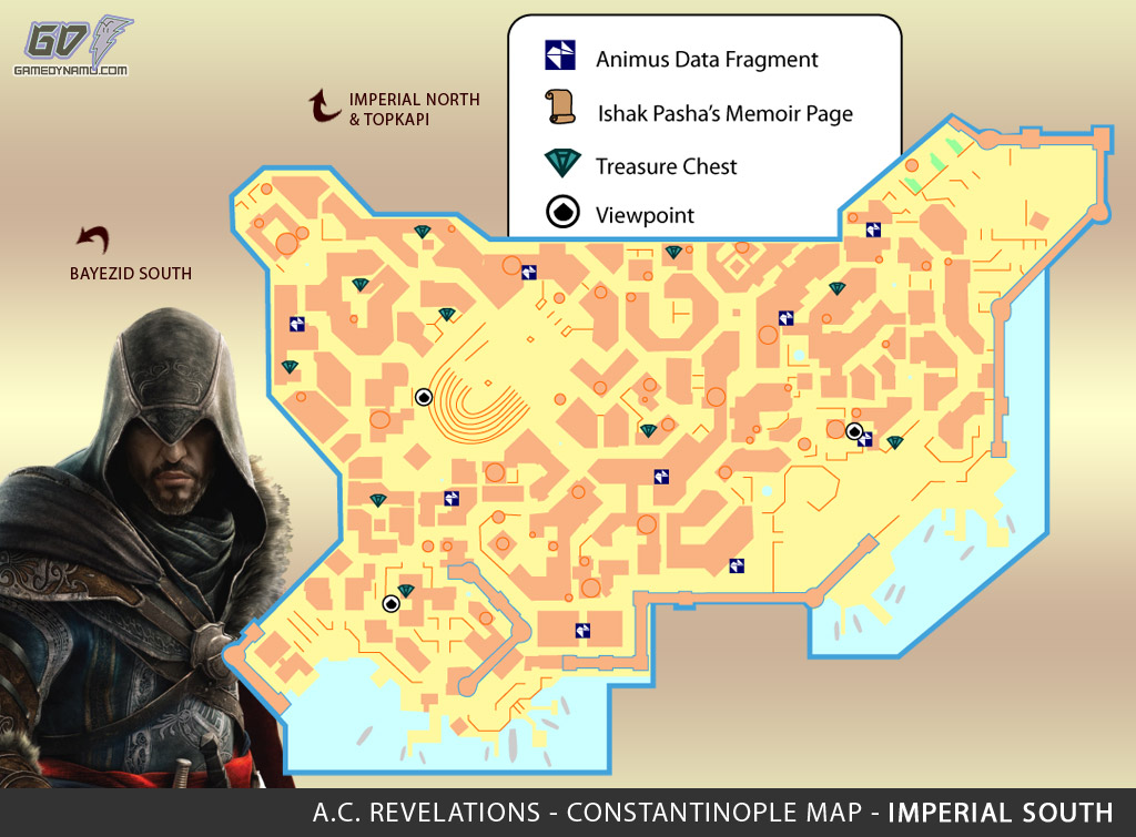 Assassin's Creed: Revelations Map (Imperial South) - Animus Data Fragments, Memoir Pages, Treasure Chest Locations