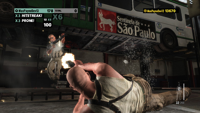 Max Payne 3 Score Attack Arcade mode screenshots (Rockstar Games, PC, PS3, Xbox, 360)