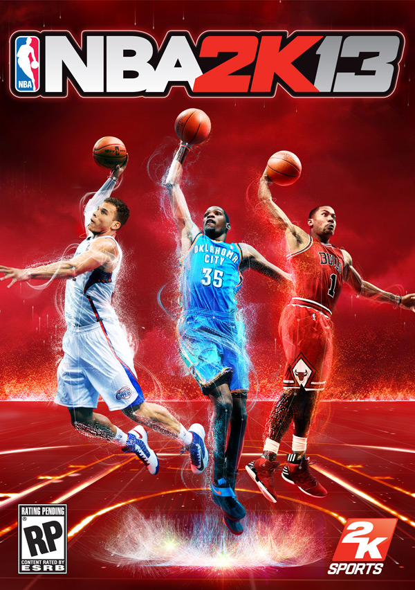 NBA 2K13 box art and cover athletes: Kevin Durant, Blake Griffin and Derrick Rose (2K Sports, Visual Concepts)