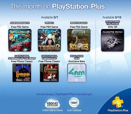 PlayStation Plus free games in May for PlayStation 3 (PS3, Awesomenauts, Trine 2, Rock of Ages, Castlevania)