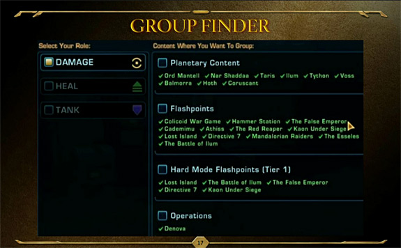 SWTOR update 1.3 Group Finder