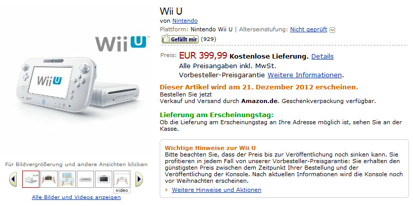 Nintendo Wii U price and release date (Amazon)