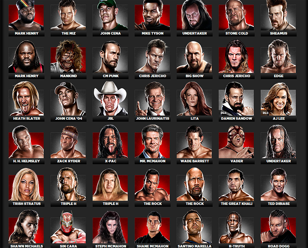 releases complete WWE '13 roster of playable wrestlers; trailer inside