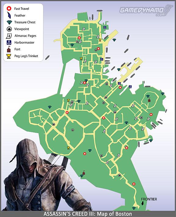 Assassin's Creed III - Boston Map - Feathers, Viewpoints, Fast Travel, Almanac Pages, Trinkets, Treasure Locations, and more