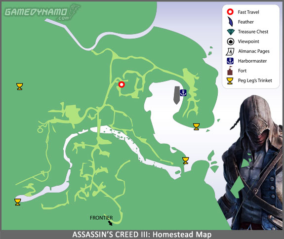Assassin's Creed III - Homestead Map - Feathers, Viewpoints, Fast Travel, Almanac Pages, Trinkets, Treasure Locations, and more