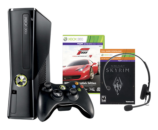 250 GB Xbox 360 with Forza Motorsport 4 and The Elder Scrolls V: Skyrim