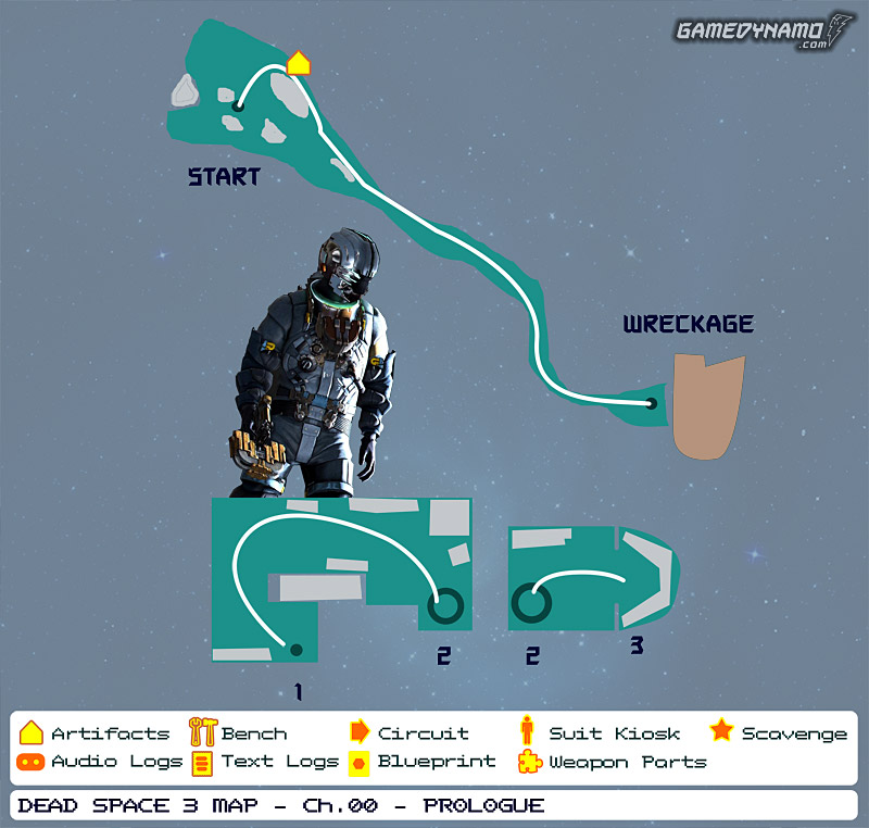 Dead Space 3 Maps: Artifacts, Text & Audio Logs, Weapon Parts, Blueprints, Circuits - Prologue