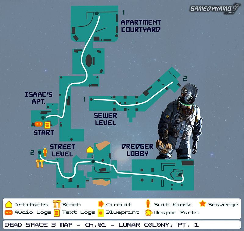 Dead Space 3 Maps: Artifacts, Text & Audio Logs, Weapon Parts, Blueprints, Circuits - Chapter 1: Lunar Colony (part 1)