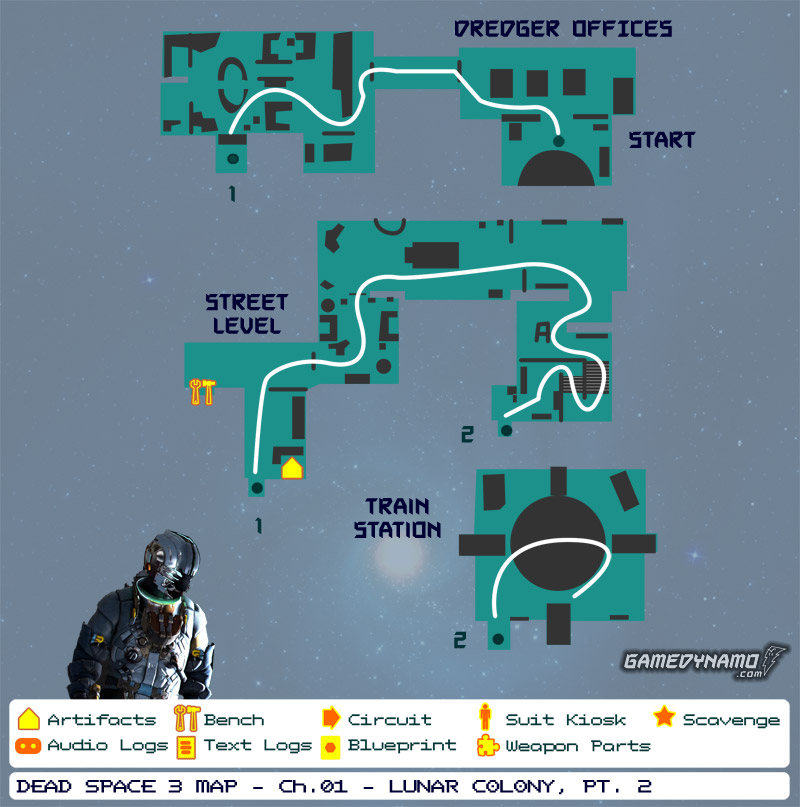 Dead Space 3 Maps: Artifacts, Text & Audio Logs, Weapon Parts, Blueprints, Circuits - Chapter 1: Lunar Colony (part 2)