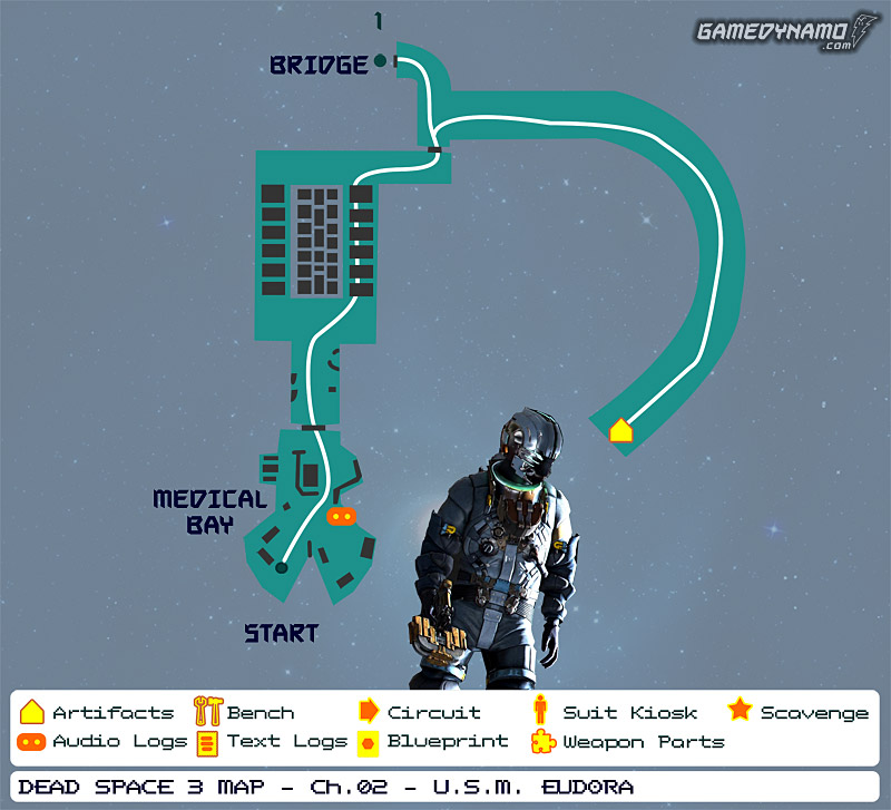 Dead Space 3 Maps: Artifacts, Text & Audio Logs, Weapon Parts, Blueprints, Circuits - Chapter 2: U.S.M. Eudora
