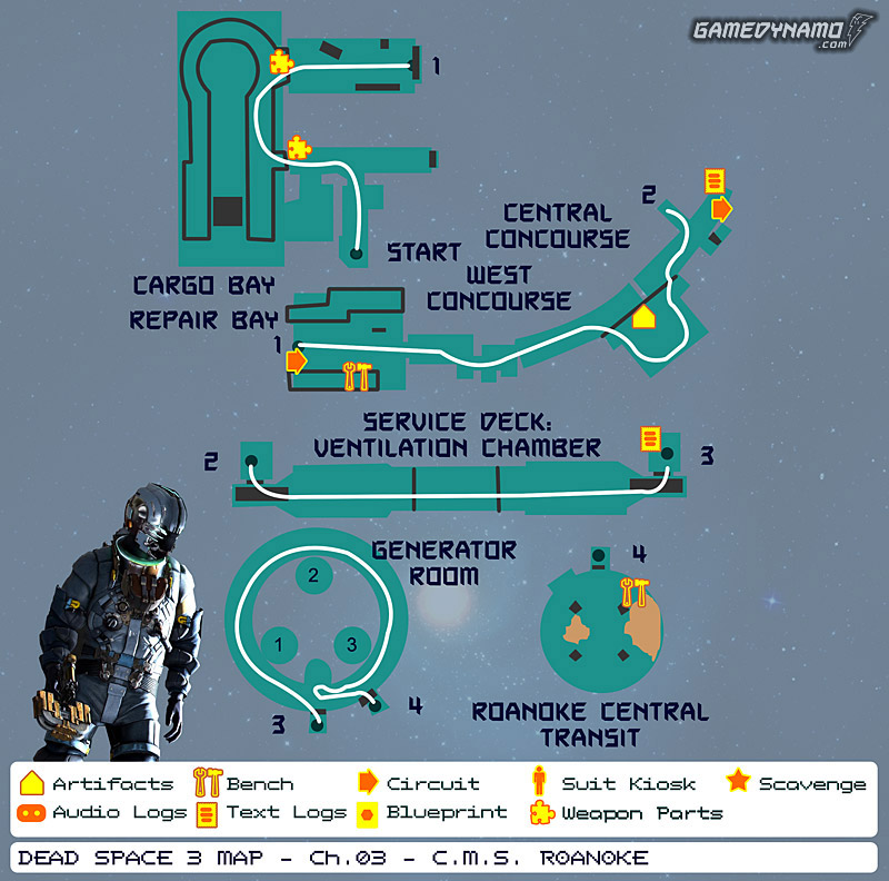 Dead Space 3 Maps: Artifacts, Text & Audio Logs, Weapon Parts, Blueprints, Circuits - Chapter 3: C.M.S. Roanoke