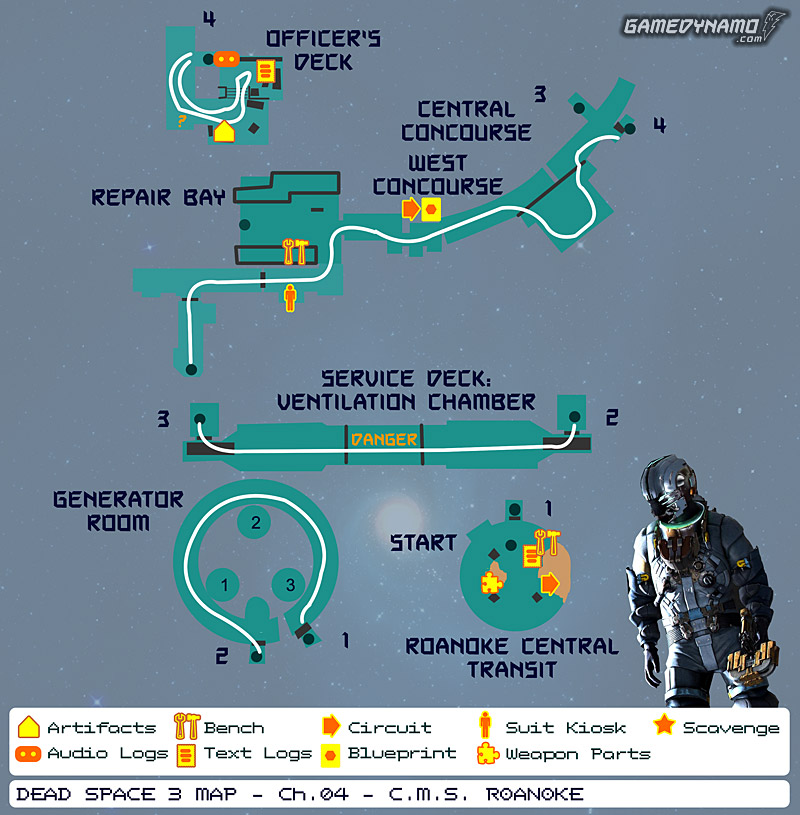 Dead Space 3 Maps: Artifacts, Text & Audio Logs, Weapon Parts, Blueprints, Circuits - Chapter 4: C.M.S. Roanoke