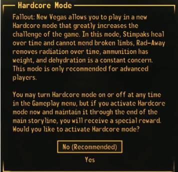 Fallout New Vegas Hardcore Mode Earns Players
